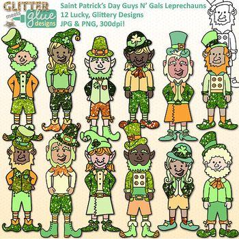 St. Patrick's Day Guys N' Gals Leprechaun Clipart -12 Cute
