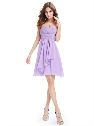 Lilac Chiffon Sweetheart Empire Waist A Line Cheap Short Prom Dress