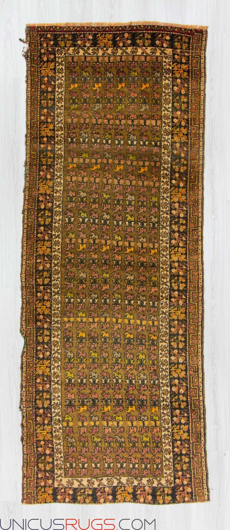 "Vintage runner rug from Malatya region of Turkey. In very good condition. Approximately 60-70 years old Width: 3' 5"" - Length: 8' 11"" RUNNERS"