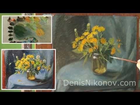 Видео урок живописи. Полевые цветы. Одуванчики - YouTube