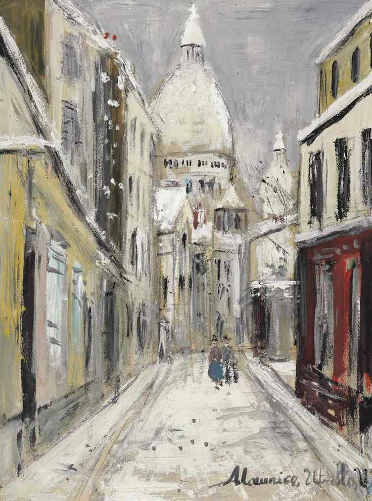 Maurice Utrillo (1883-1955).  Sacré-Coeur en hiver, oil and gouache on paper, 15 x 11 3/8 in. (38 x 28.8 cm.)