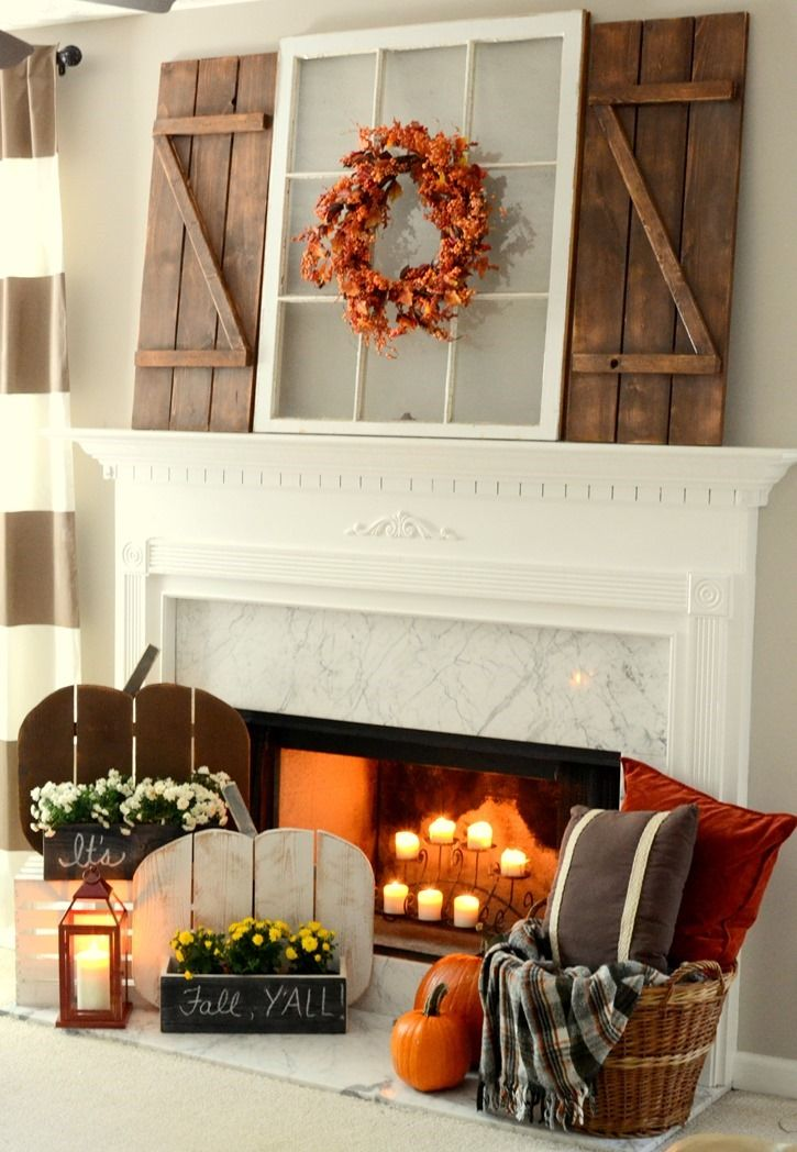 Rustic fall mantel with diy barn wood shutters for Rustic mantle decor