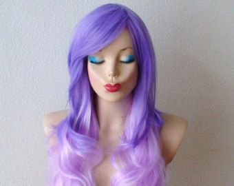 Lilac / Lavender Ombre wig. Light Purple wavy hairstyle durable heat resistant synthetic wig for Daily use or Cosplay.