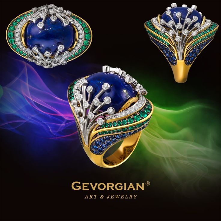 """Ring """"Firebird"""" by GEVORGIAN. Jewelry house GEVORGIAN's collection is now widened with one more fantasy ring referring to fairy-tales. Sparkling as the Firebird's feather, this ring cries out for to be put on the finger to carry its master to the atmosphere of oriental luxury and fairy-tale."""