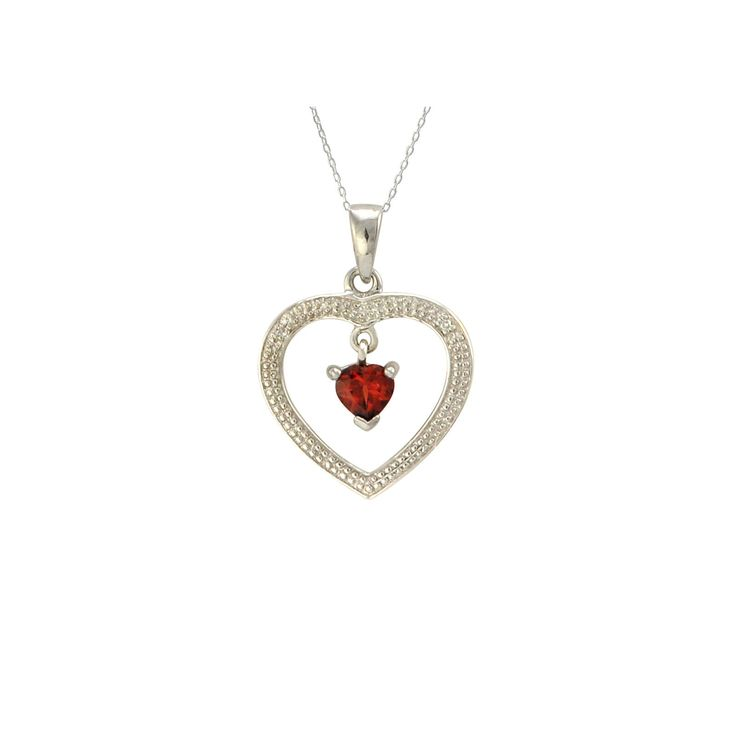 """Elegant sterling silver genuine garnet and diamond necklace on 18"""" sterling silver chain. A single garnet gemstone dangles freely inside this beautiful open heart pendant. If you are looking for a cla"""