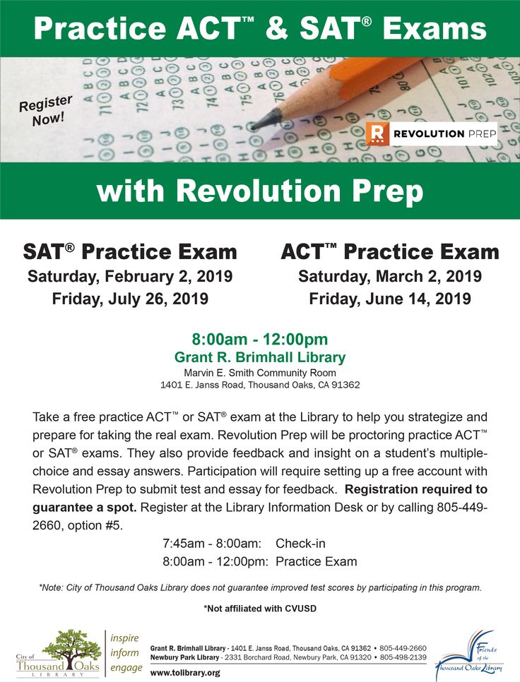 Take a practice ACT or SAT exam at the Thousand Oaks
