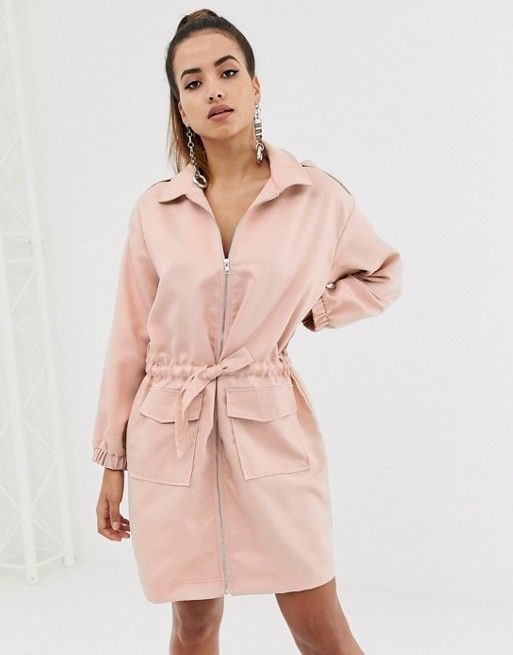 c5f36609d20 Missguided oversized shirt dress with zip through in pink