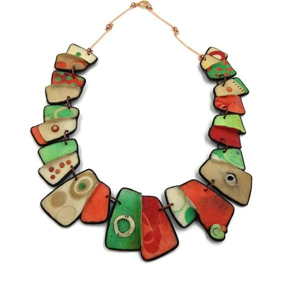 Unique gold jewelry Polymer clay bib necklace and circle earrings Ceramic jewelry Artistic Statement necklace and earrings Gift for women