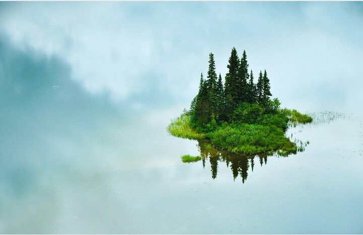 Island in the middle of Tumuch Lake in Northern British Columbia
