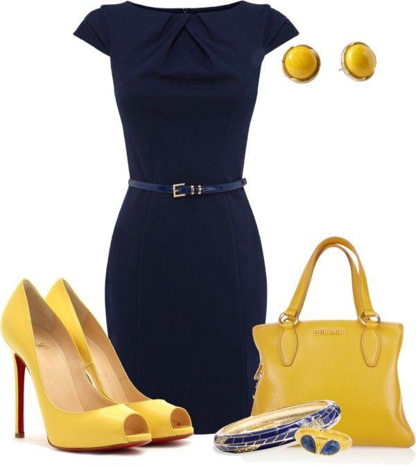 """""""yellow peep toes"""" by meganpearl on Polyvore Necesito un vestido azul y unos zapatos amarillos :"""