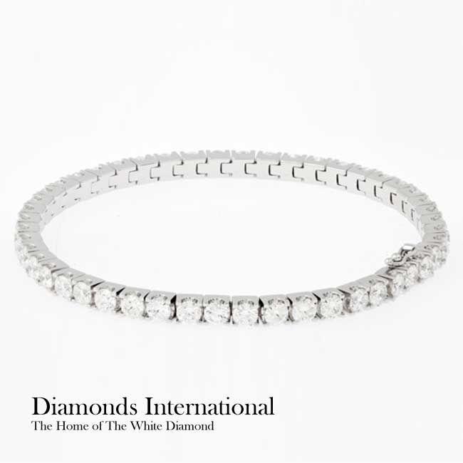 18ct white gold Diamond set bracelet - 48 x Round Brilliant Cut Diamonds = 7.36ct - claw set. Product Reference G4876. #diamondsinternational #diamonds #bracelet #bangle #party #accessory #gift #wife #girlfriend #birthday #white #gold #whitegold #roundbrilliantcut #clawset