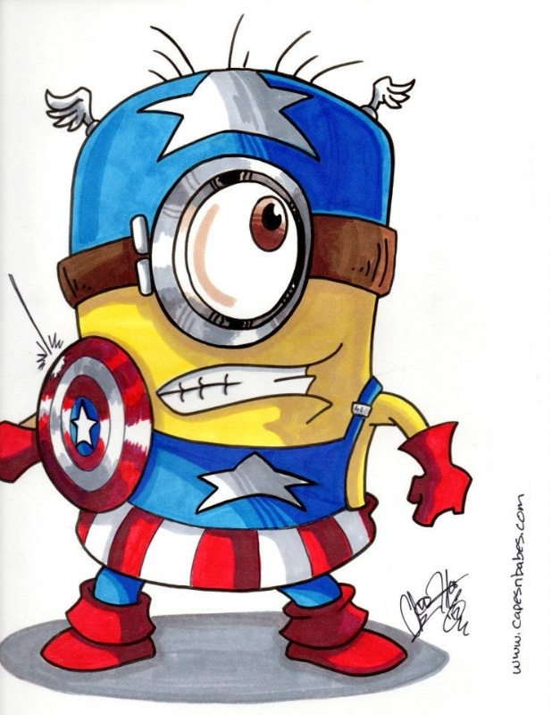 Minion Captain America. it kind of looks like he's wearing a pool floatie