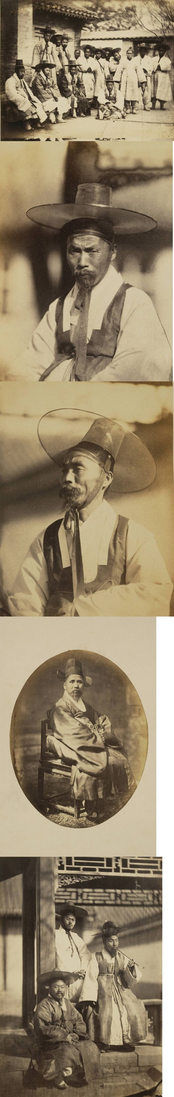 korean traditional costume for men from high or middle class of Korean society. traditional Korean hat- gat. Typically made from horsehair and bamboo were traditionally worn to signify rank. These hats have wide brim - middle or high class