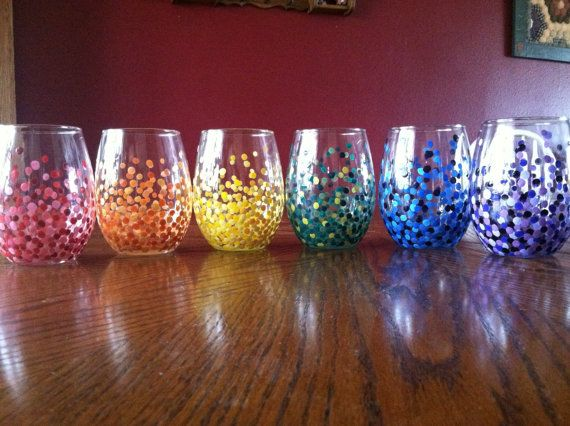 4 Hand-Painted Stemless Wineglasses  via Etsy