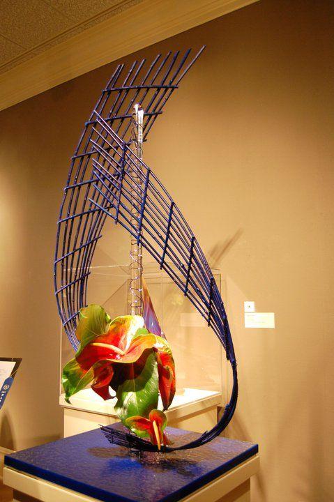 Tropical Floral Arrangement with Glass Armature