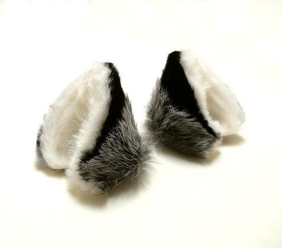 Small Silver Fox Fluffy Fur Leather Animal Ears Kitsune от noxhyde