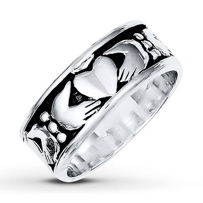 Men's Claddagh Ring Sterling Silver 8mm JAREDS