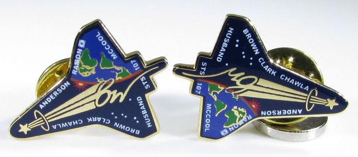Gold Tone Pins with NASA and Boeing STS-107 Space Shuttle and Crew Names #PinorTieTack