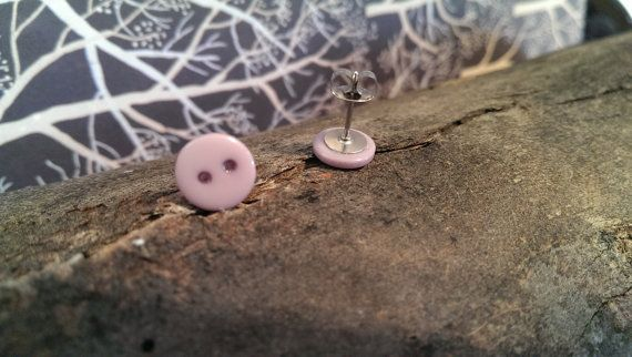 Soft Purple Button Stud Earrings by LittleEmeraldButtons on Etsy, $8.50