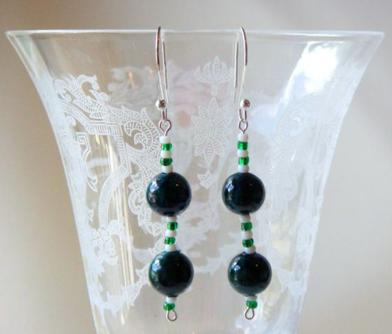 New York Jets Football Earrings/ NFL Jets Dangle Earrings/ Green and White Dangle Earrings/ #biztalk #fashion