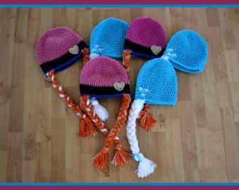 Items similar to Crochet Frozen Anna and Elsa  inspired Hat~Wig on Etsy