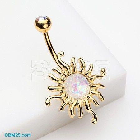 Golden Blazing Opal Sun Belly Button Ring