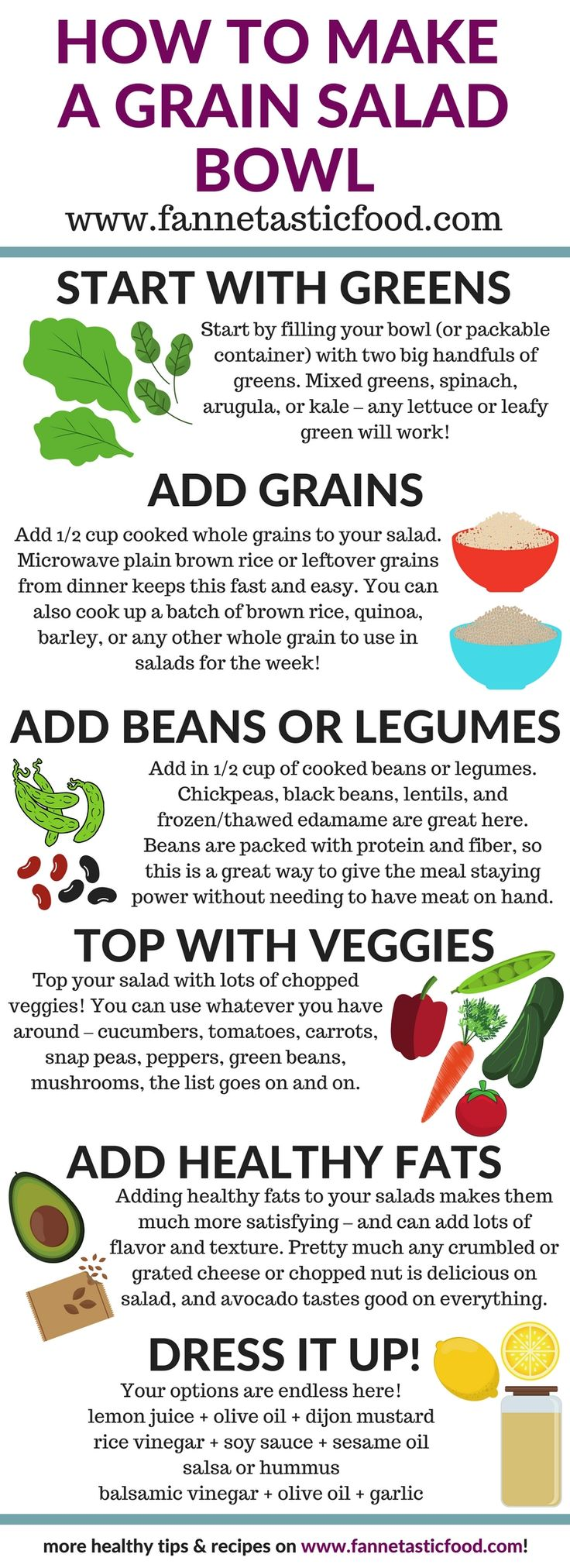 How to Build a Grain Salad Bowl - create a healthy lunch with this easy formula! Check out the blog post for more ideas - It's easy to make vegan, gluten free, and more. | healthy lunch ideas | healthy lunch recipes | easy lunch ideas | vegan recipes |