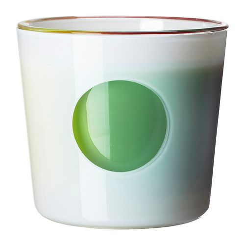 Jubel Self-Watering Pot by IKEA: Made of glass. Add water through the hole in the outer pot to keep the wicks moist. Rotate the inner pot to change the color that shows through the hole. $9.99 #Flower_Pot #Self_Watering #IKEA