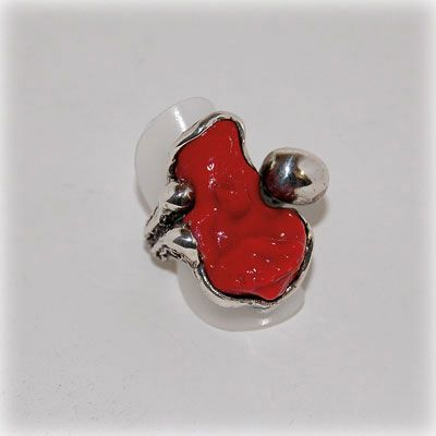 Stunning authentic red coral ring with sterling silver setting. Entirely handmade in our workshop.