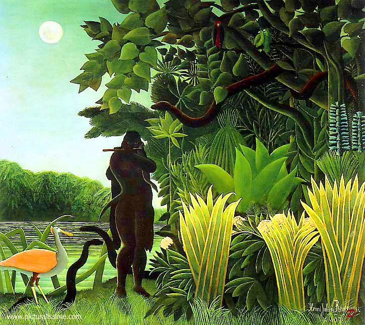 La Charmeuse de serpents by Henri Rousseau, a self-taught genius. Love his primivites.