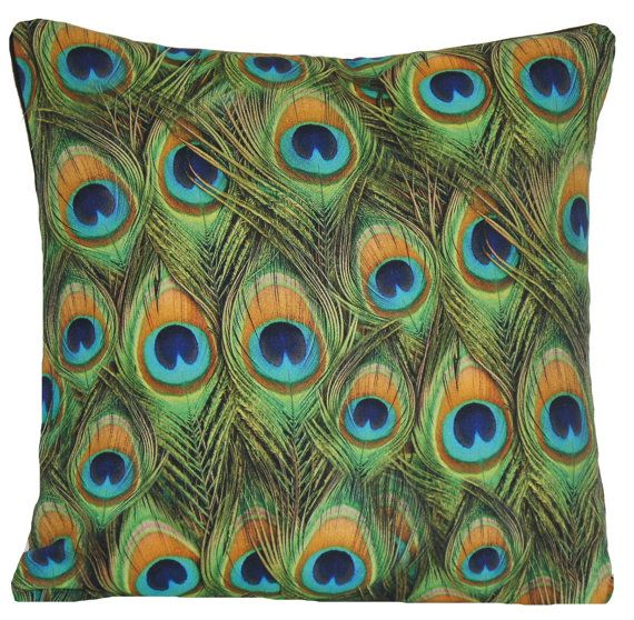 Peacock Feathers Cushion Cover Throw Pillow Case Green Hera Printed Fabric Design Different Sizes Available
