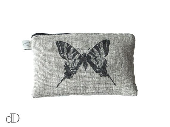 Make Up Bag / Cosmetic Bag /  Purse with Butterfly print on linen
