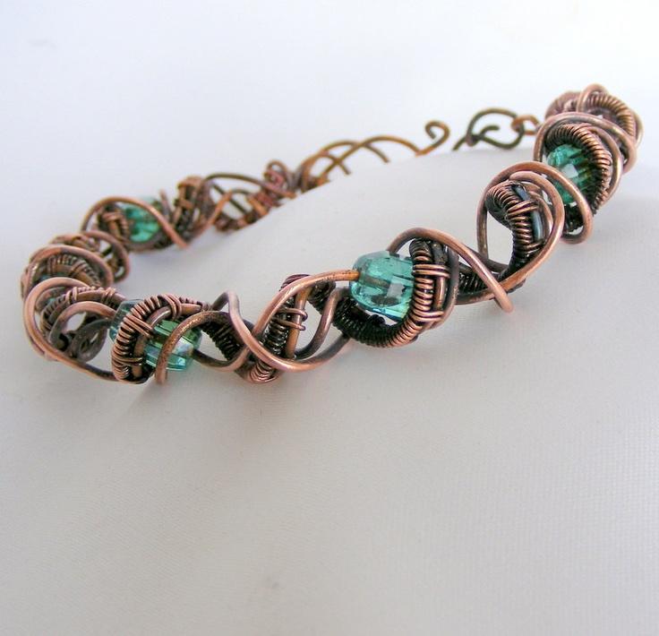 151 best Wirework - Bracelet images on Pinterest   Wire bracelets ...