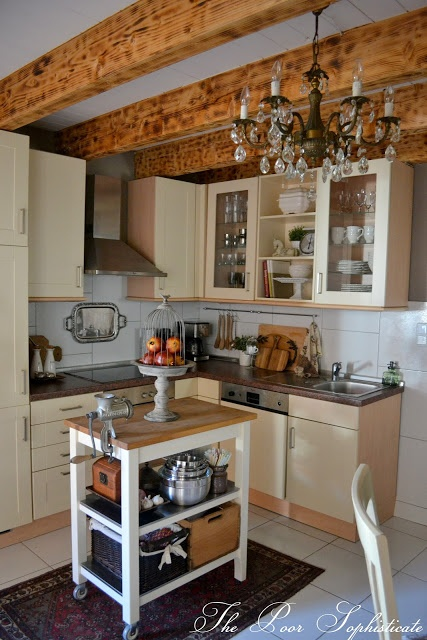 the poor sophisticate: Barn Kitchen Reveal -- I love this sweet, simple kitchen.  Just needs a wing-back chair or two for hanging out!