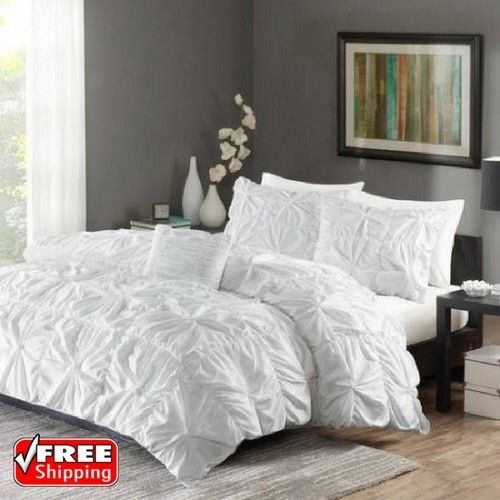 comforter set ruched king size 4 piece pintuck bedding duvet cover set white