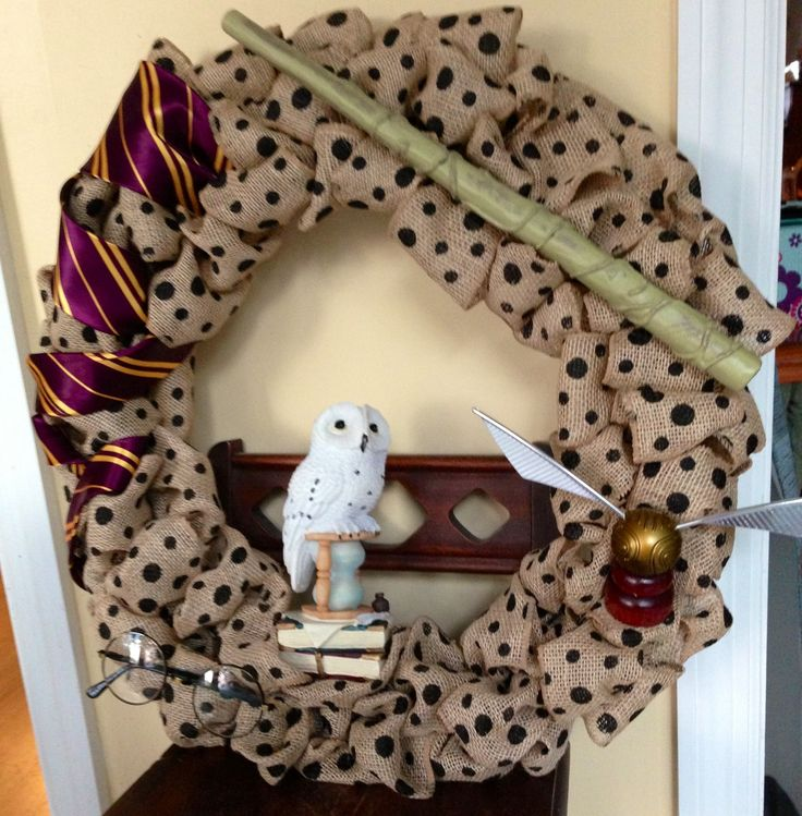Harry Potter themed burlap wreath