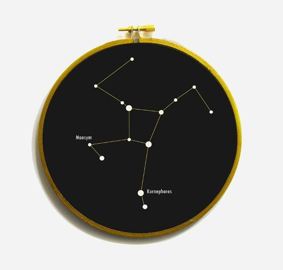 Hercules constellation in embroidery hoop. by WordosaurusText