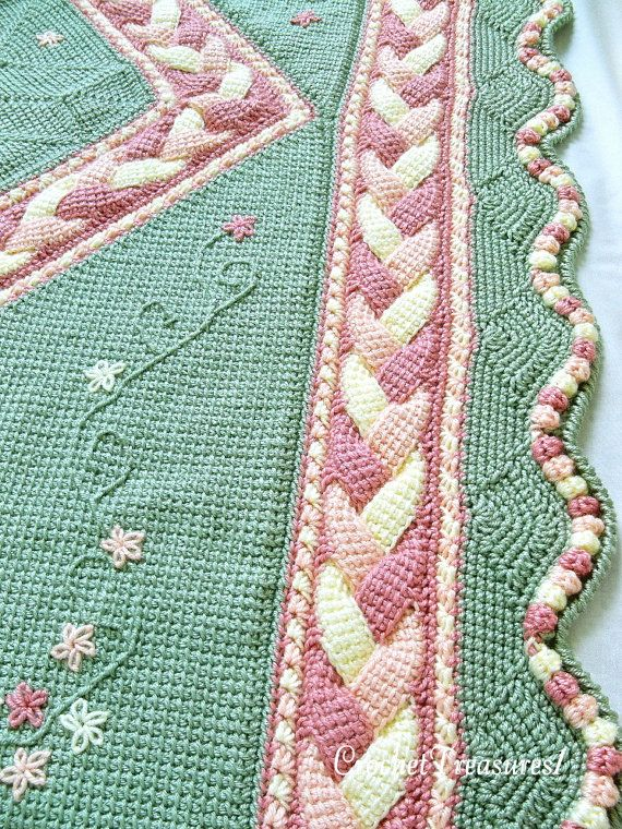 Orchard Song Throw / new / handmade / afghan blanket / peach / green / yellow / blossom / embroider / child / unique