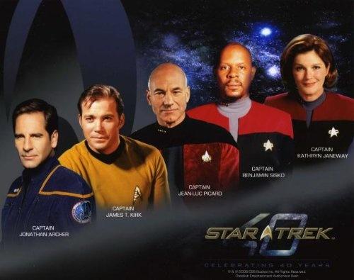 Star Trek 40th Anniversary 5 CAPTAINS 8x10 Color PHOTO $7.99