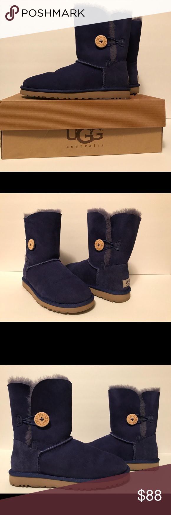 Ugg Boots Size 7 with Bailey Button - Royal Blue Ugg Boots Size 7 with Bailey Button - Royal Blue. Used once. Originally purchased at Nordstrom UGG Shoes Winter & Rain Boots