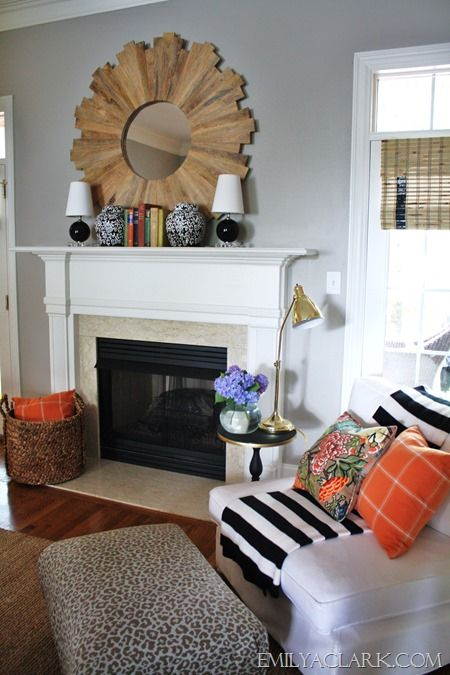 living room grey with color! And mirror! Could do driftwood.
