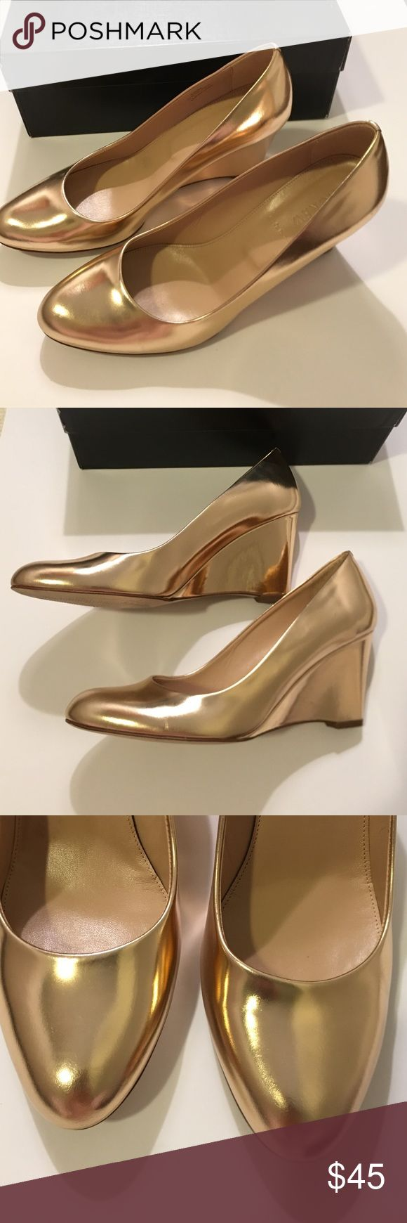 JCrew Martina Metallic wedge Metallic Blush color. Like new.. wore one time to church. Excellent condition! J. Crew Shoes Wedges