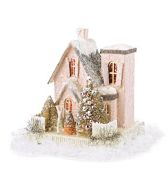 glitter little house, pale pink, detailed