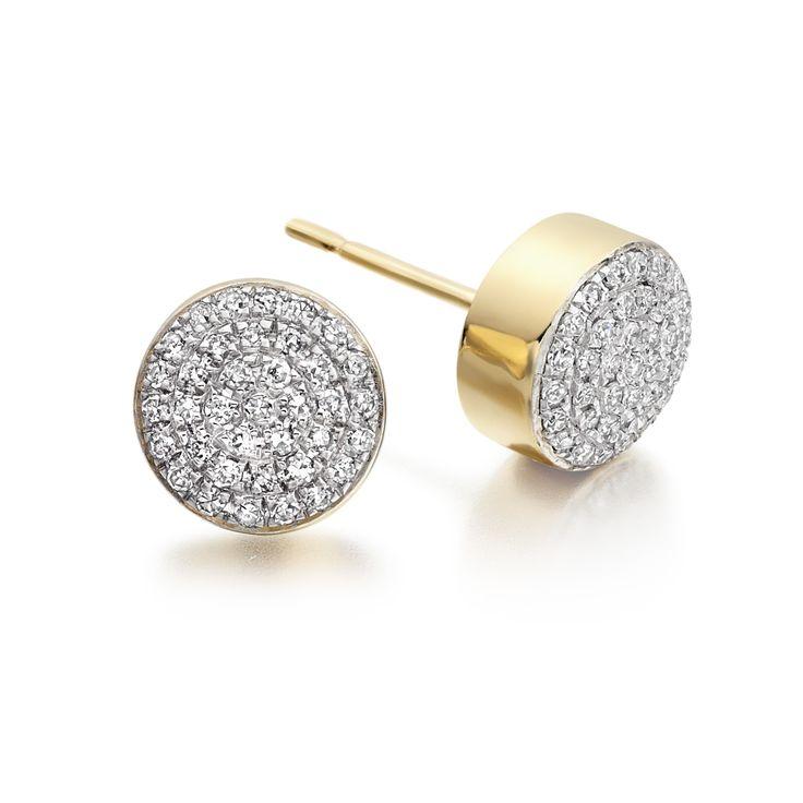 Ava Diamond Stud Earrings Gold Plated Vermeil On Sterling Silver