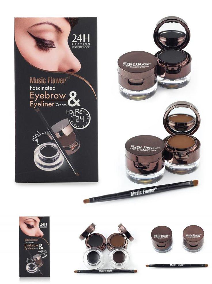 [Visit to Buy] Music Flower Brand Brown + Black Gel Eyeliner Eyebrow Powder Makeup Set Kit Waterproof Long Lasting Eye Liner Eye Brow Cosmetics #Advertisement