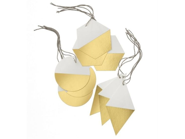 décoration de Noël à fabriquer en papier- étiquettes en blanc et doré