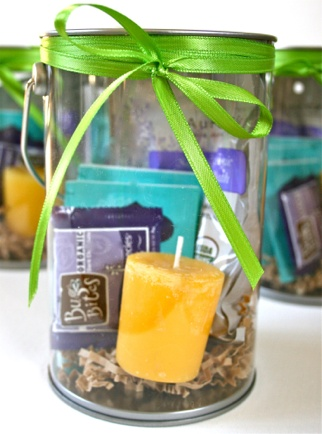 Great gift idea for daycare teachers someday - relaxation kits with tea, chocolate, bath salts, candles, gift cards