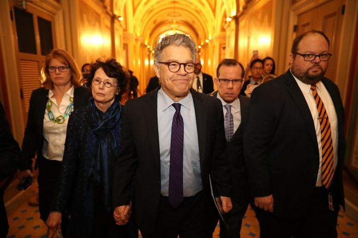 WASHINGTON, DC - DECEMBER 07:  Sen. Al Franken (D-MN) (C) and his wife Franni Bryson (L) arrive at the U.S. Capitol Building December 7, 2017 in Washington, DC. Franken announced that he will be resigning in the coming weeks after being accused by several women of sexual harrassment. (Photo by Chip Somodevilla/Getty Images)
