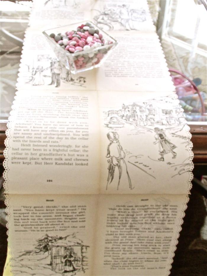 Amei muito essa ideia!!! Cópias de páginas de livro infanto-juvenil antigo servindo como toalha da mesa no chá de bebê. #decoração #vintage