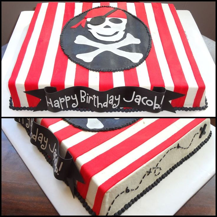 Pirate themed sheet cake- butter cream with fondant accents.